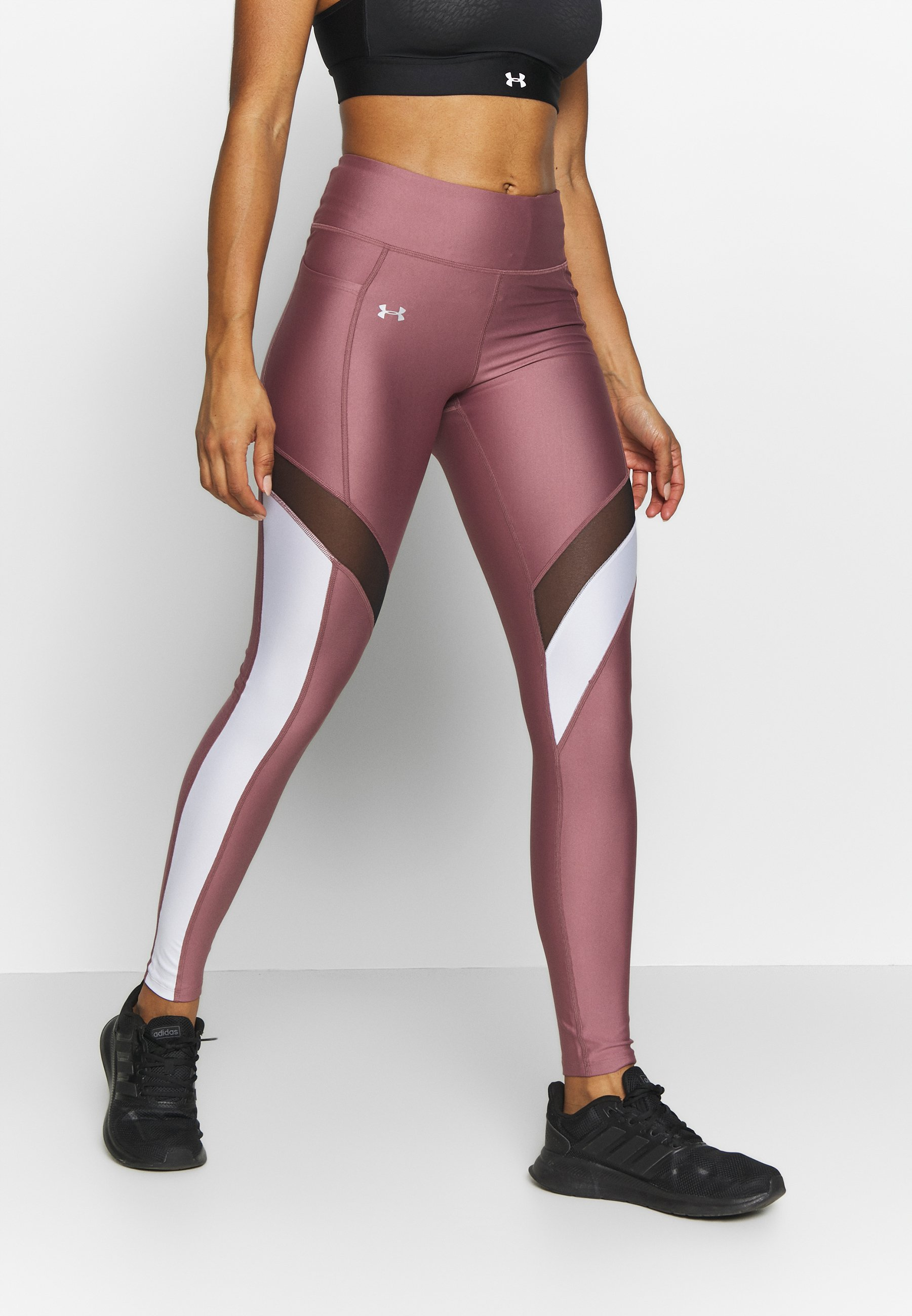 Under Armour Ua Hg Armour Sport Leggings Legging Hushed Pink White Metallic Silver Zalando Nl