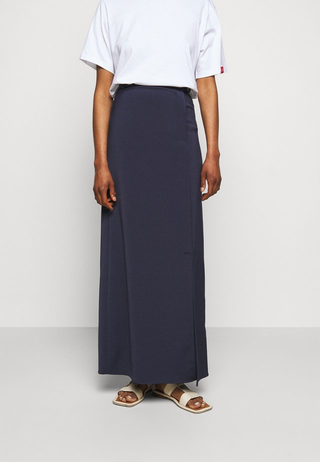 SPLIT DETAIL LONG FAILLE SKIRT - Maxirok - midnight blue
