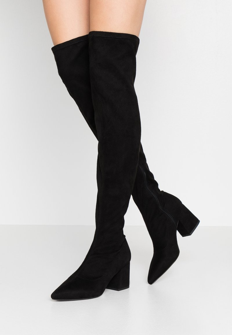 Missguided - MID HEEL BOOT - Over-the-knee boots - black