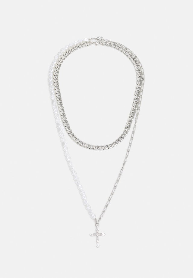 THICK CHAIN CROSS ROW 2 PACK - Necklace - silver-coloured