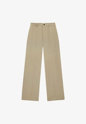 REGULAR-FIT MIT ZIERNAHT VORNE - Trousers - beige
