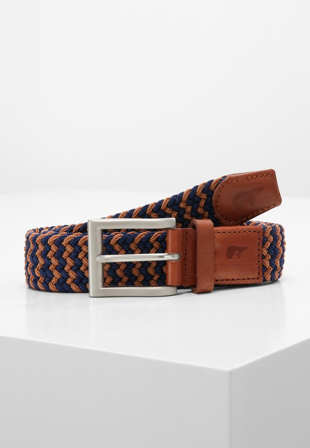 Braided belt - blue/camel