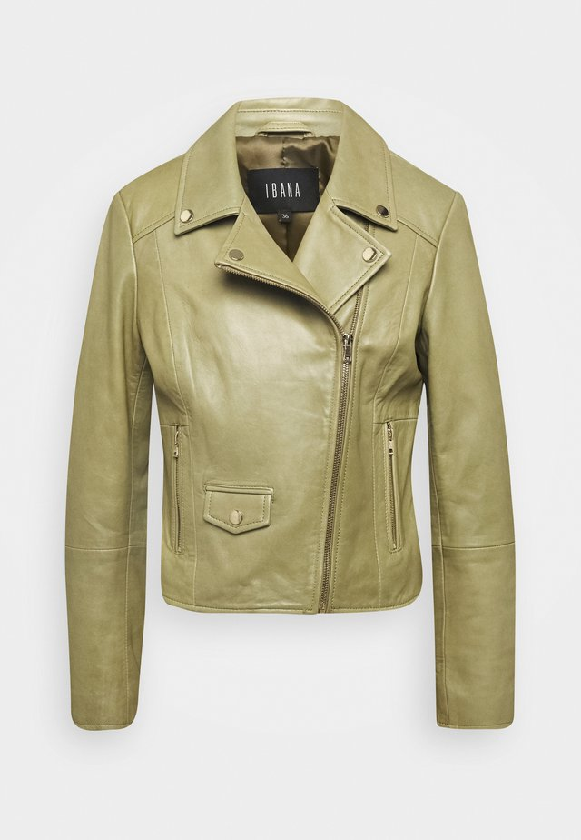 FABIENNE - Leather jacket - mossgreen