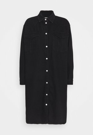 SLFDORA LONG - Button-down blouse - black denim