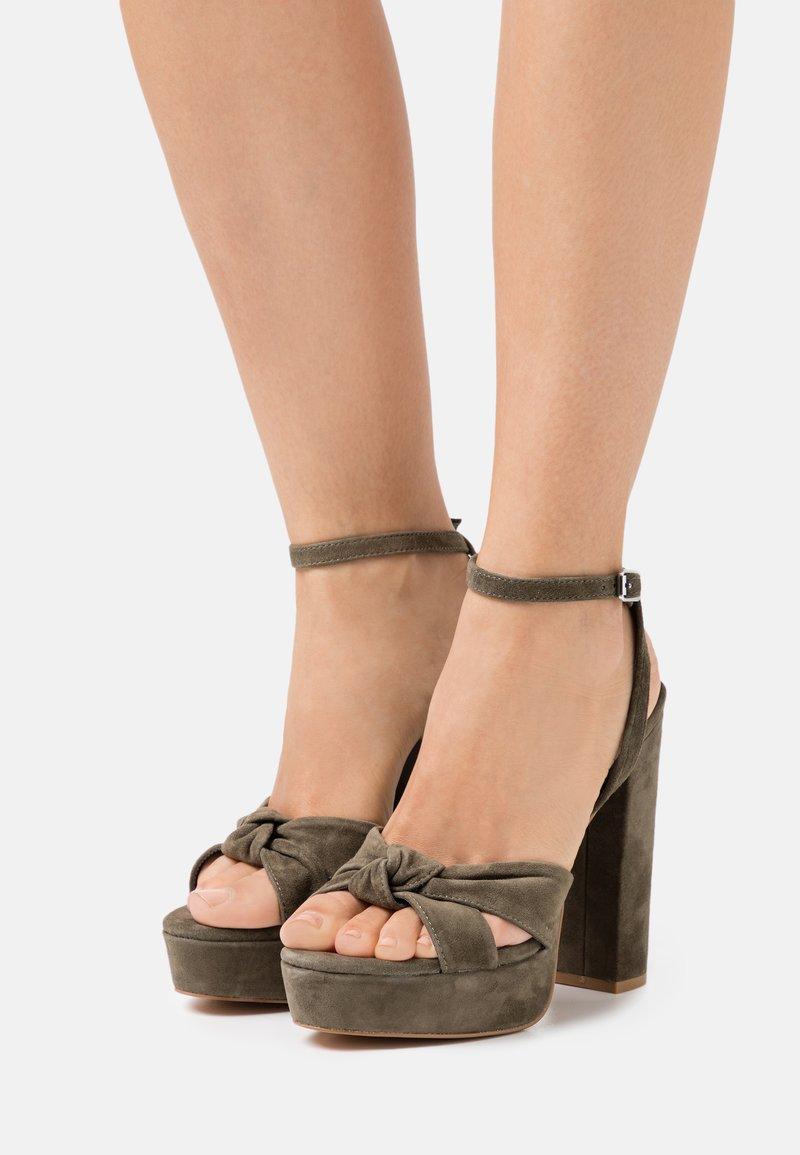 Even&Odd - LEATHER - High heeled sandals - khaki