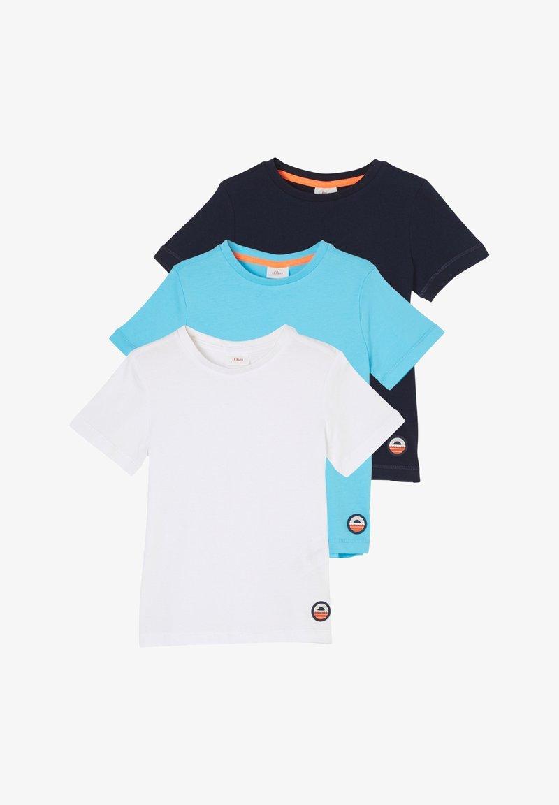 s.Oliver - 3 PACK - Basic T-shirt - navy/turquoise/white