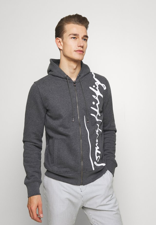 SIGNATURE HOODED ZIP THROUGH - veste en sweat zippée - grey