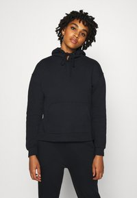 Even&Odd - OVERSIZED HOODIE WITH POCKETS AND SIDE SLITS - Hoodie - black - 0