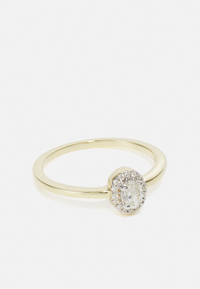 9KT YELLOW GOLD 0.26CT CERTIFIED DIAMOND HALO RING - Bague - gold