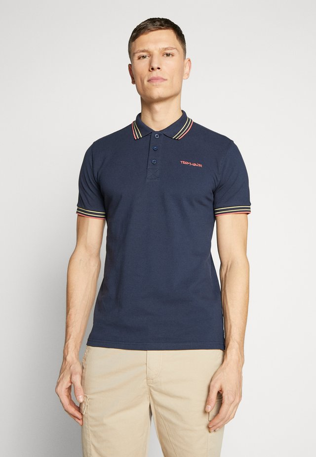 PASIAN - Polo shirt - total navy/coral/yellow