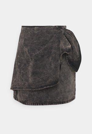BOW WRAP SKIRT - Denim skirt - black