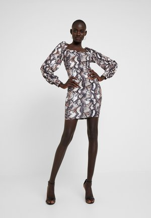 PRINTED SQUARE NECK BALLOON SLEEVE DRESS - Etuikjole - multi-coloured