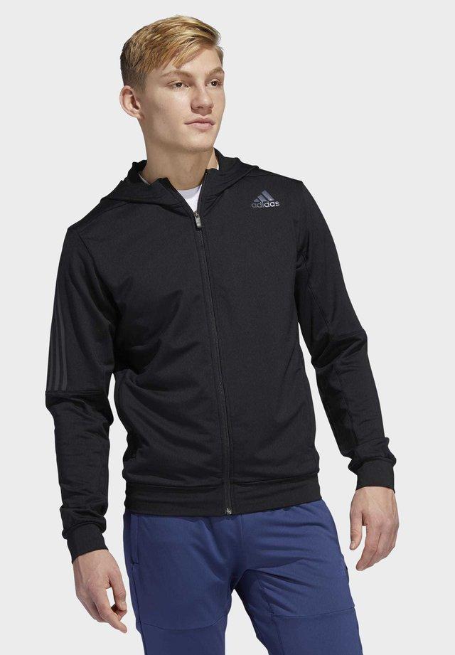 AEROREADY 3-STRIPES COLD WEATHER KNIT HOODIE - Zip-up hoodie - black