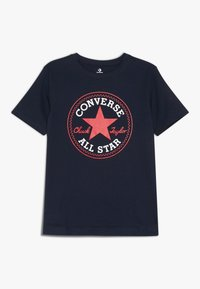 Converse - CORE CHUCK PATCH TEE  - Print T-shirt - obsidian/red - 0