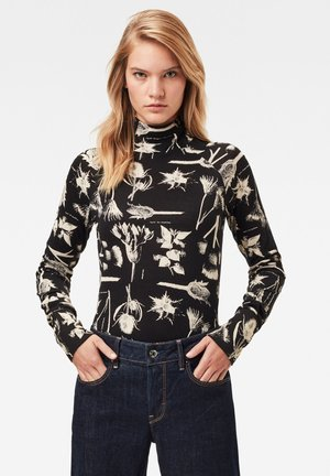 LECITE AO SLIM TURTLE LONG SLEEVE - Long sleeved top - dk black botanical