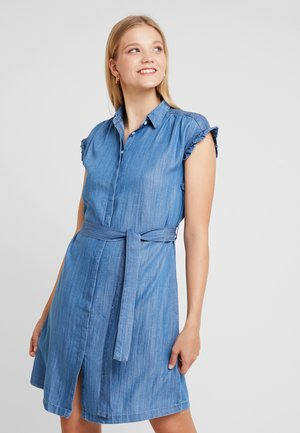 SHORT SLEEVE DRESS - Denim dress - light indigo