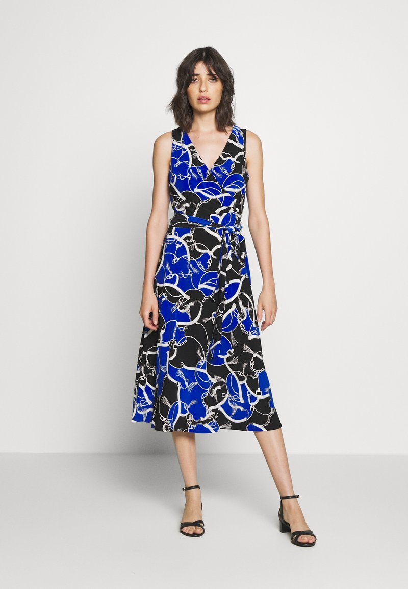 Lauren Ralph Lauren - PRINTED MATTE DRESS - Žerzejové šaty - black/regal sapph