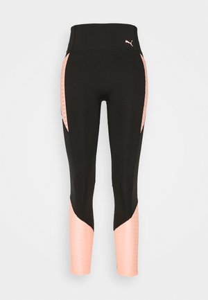TRAIN FLAWLESS FOREVER HIGH WAIST 7/8 - Medias - black/elektro peach