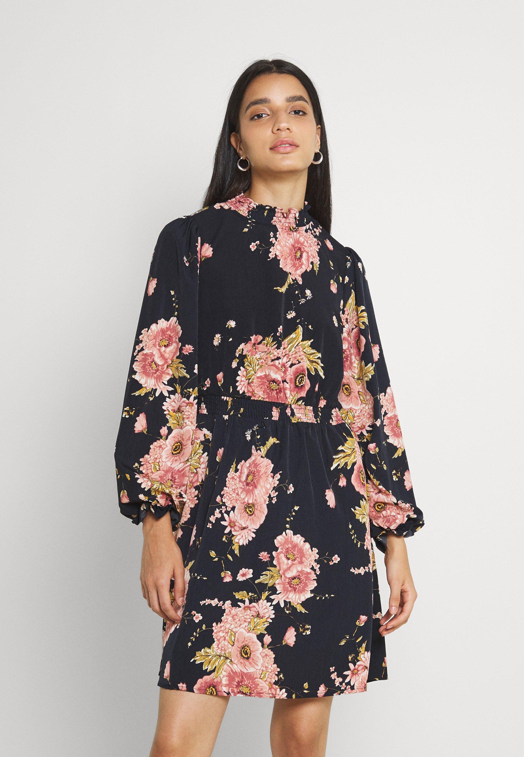 Women VIKANTI HIGH RUFFLE NECK DRESS - Day dress