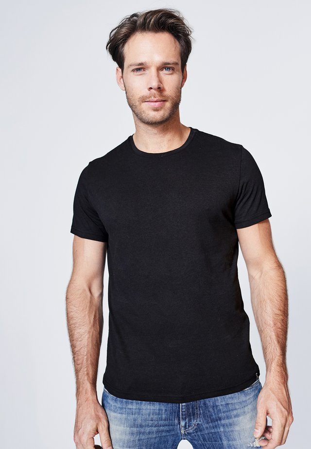 MIT NECKTAPE - Basic T-shirt - black