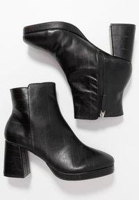 Topshop Wide Fit - WIDE FIT EDDIE PLATFORM BOOT - High heeled ankle boots - black - 3