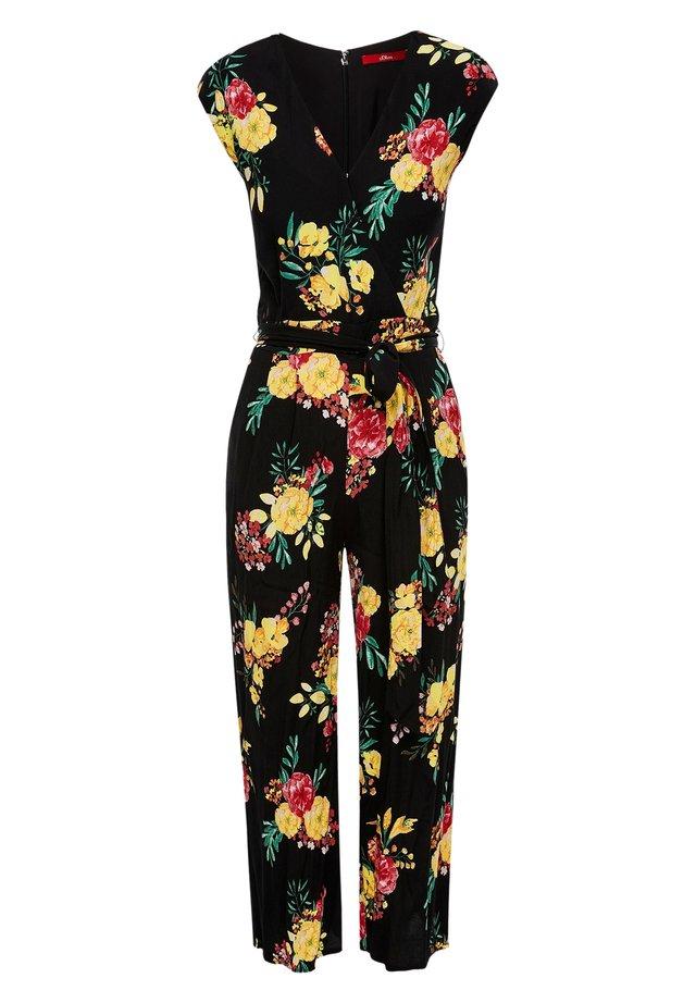 Jumpsuit - black aop flowers