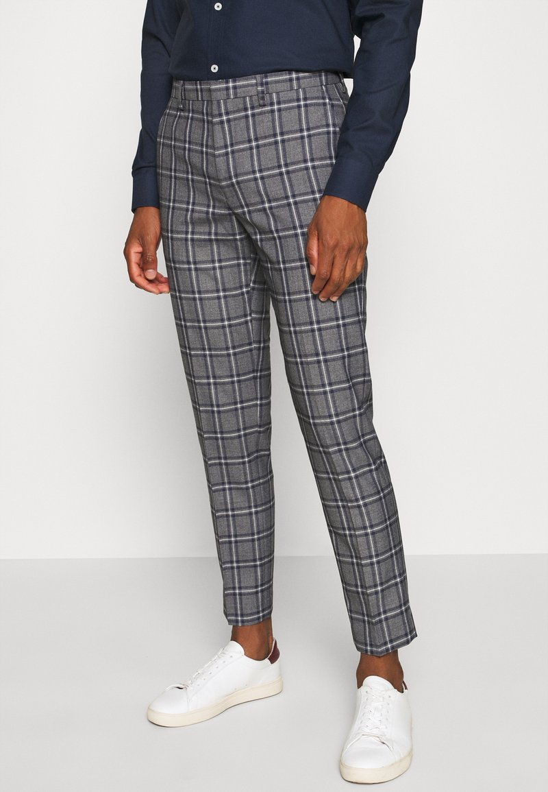 Burton Menswear London - GREY NAVY TARTAN TROUSERS - Kostymbyxor - grey