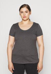 Anna Field Curvy - 3 PACK - T-shirts basic - white/black/dark grey - 2