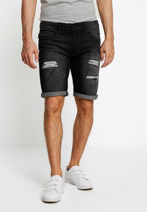 KADEN HOLES - Shorts vaqueros - black