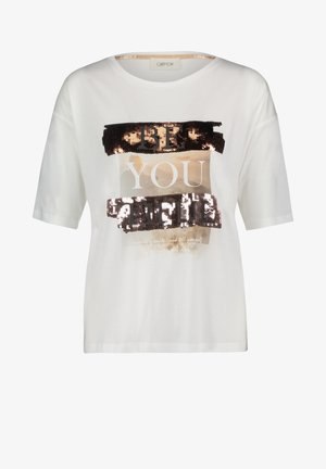 MIT PAILLETTEN - Print T-shirt - white/copper
