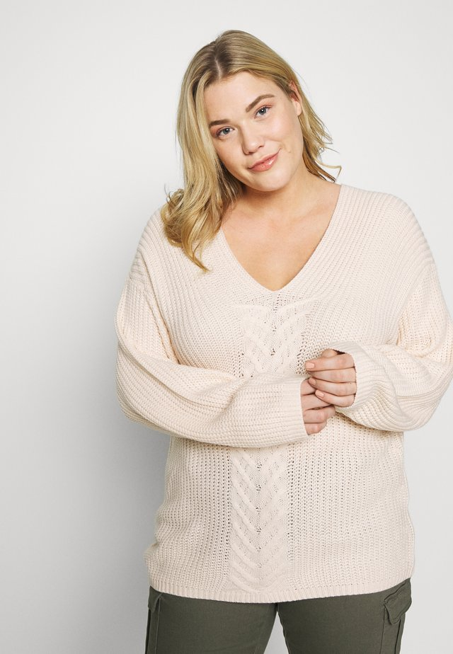V NECK JUMPER - Neule - cream