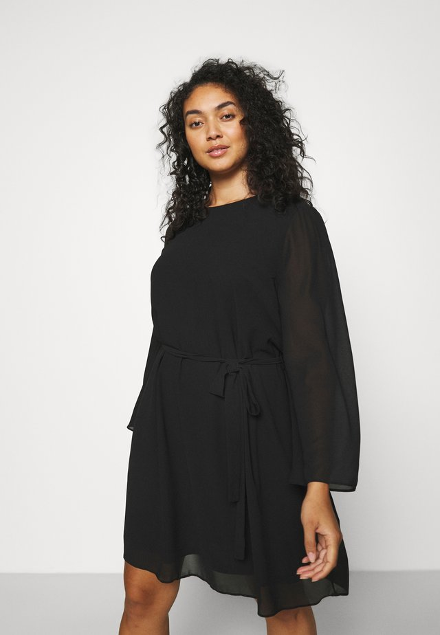 SLEEVE BELTED DRESS - Korte jurk - black