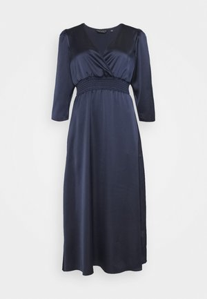 WRAP SHEERED WAIST MIDI DRESS - Day dress - navy
