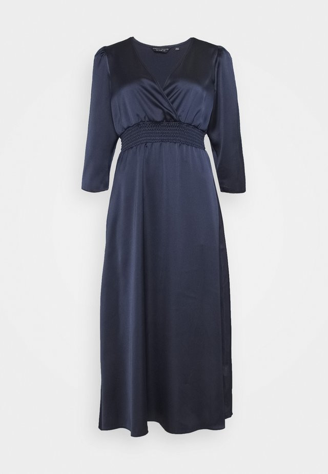WRAP SHEERED WAIST MIDI DRESS - Cocktail dress / Party dress - navy