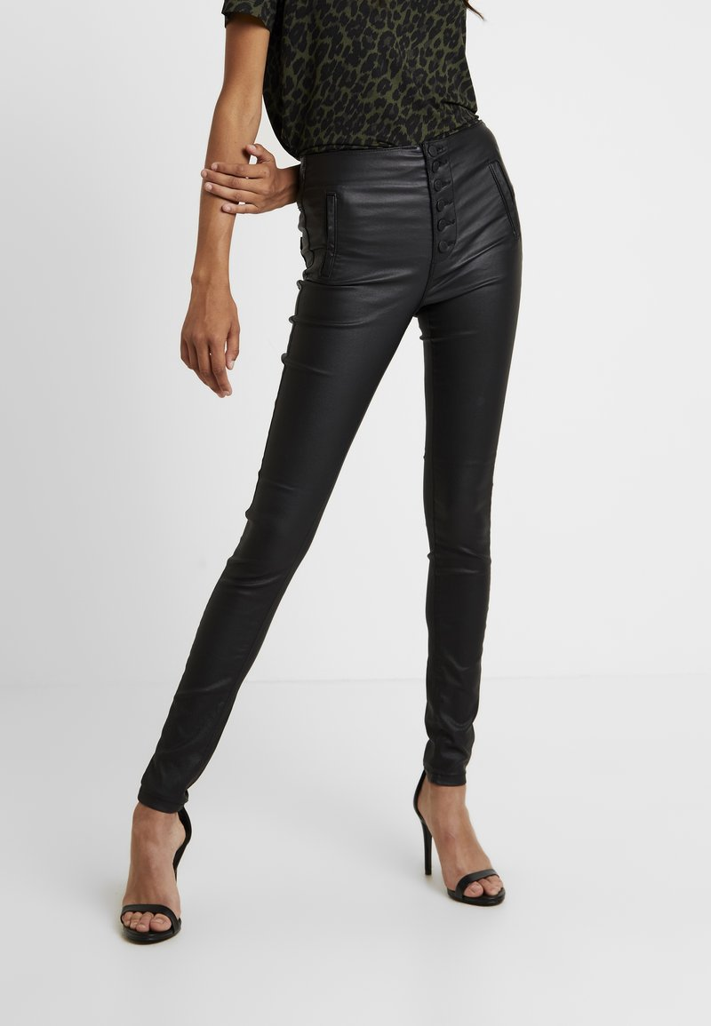 ONLY - ONLROYAL COATED BUTTON PANT - Spodnie materiałowe - black