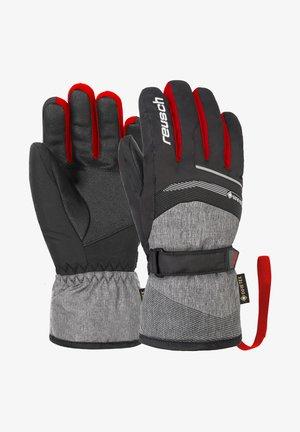 Gloves - blck blck melang fire red