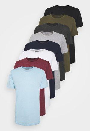 LONGY TEE 10 PACK - T-shirts - 2 white/ 2 black/ 1 dgm/ 1 lgm/ 1 navy/ 1 bordeaux/ 1 olive/ 1 light blue