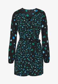 BALOON SLEVE WRAP MINI DRESS - Denní šaty - black/green spot