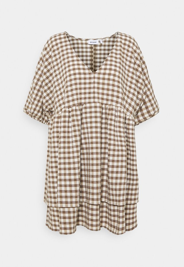 HEDVIG DRESS - Korte jurk - brown check