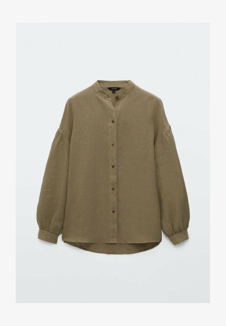 Massimo Dutti - MIT MAOKRAGEN UND PUFFÄRMELN - Button-down blouse - khaki
