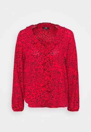 ANIMAL RUFFLE - Blouse - red