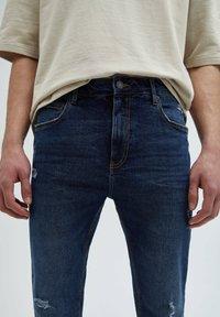 PULL&BEAR - Slim fit jeans - mottled dark blue - 4
