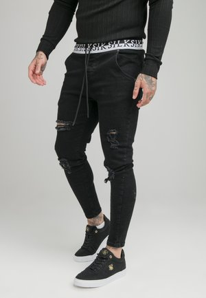 DISTRESSED ELASTICATED - Jeansy Slim Fit - washed black