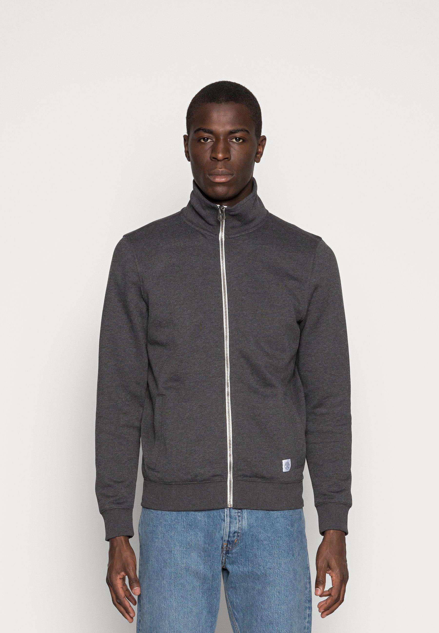 Men Zip-up sweatshirt - black grey melange