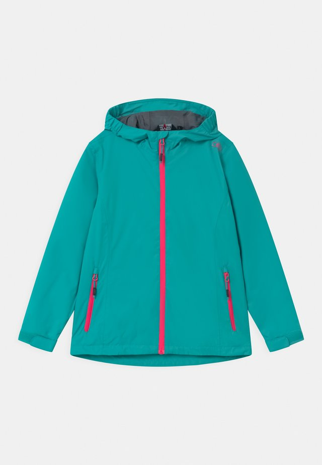 FIX HOOD - Impermeable - turquoise/pink