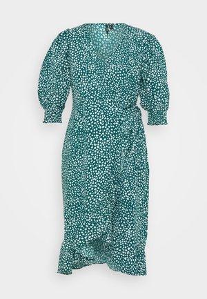 VMLISSY FRILL WRAP MIDI DRESS  - Day dress - deep lagoon/snow white dots