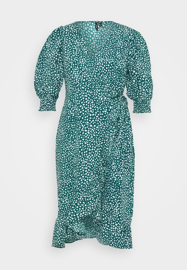 VMLISSY FRILL WRAP MIDI DRESS  - Kjole - deep lagoon/snow white dots