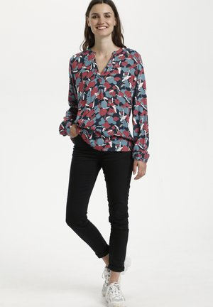 KAANE - Blouse - navy red abtract artwork