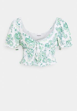 SMOCKED WITH PUFF SHORT SLEEVES LOW NECKLINES - Blouse - white