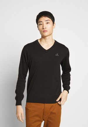 CLASSIC COTTON V-NECK - Jumper - black